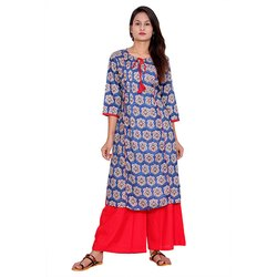Blue and Red Printed Rayon Kurti