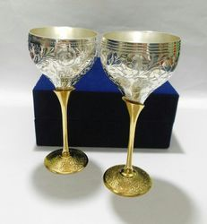 Wandcraft Exports Silver Plated Brass Goblet Glass Set