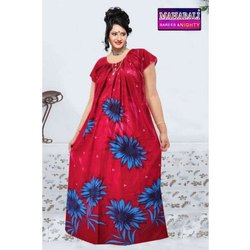 Full Length Stitched Ladies Floral Print Cotton Night Dress