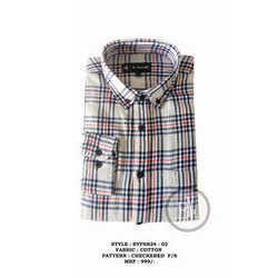 Regular Fit Full Mens Cotton Check Stripped Shirt
