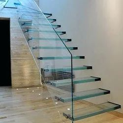 Polished Free Standing Glass Stairs