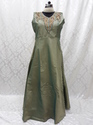 Silver Party Wear And Wedding Wear Neck Work Silk Suit