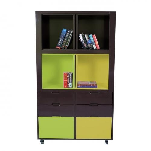 Creser Brown Yellow Green Extendable Moving Cabinet, For Home & Office