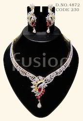 American Diamond Ruby Necklace Set