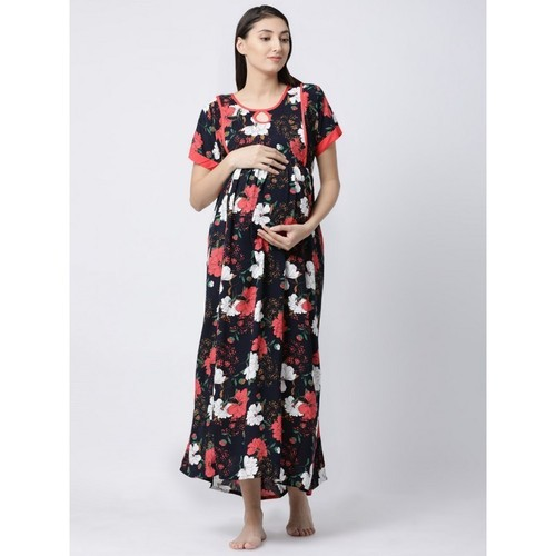 1239b2d856 Soft Cotton Fabric Night Wear Floral Print Maternity Nighty