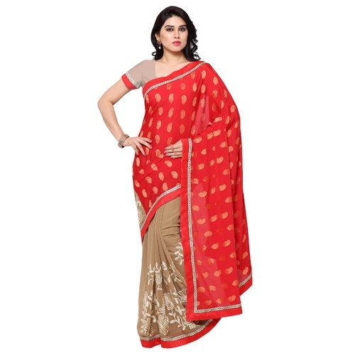 453b9a884f41d Red Sarngin Boutique Solid Bollywood Jacquard