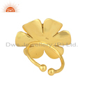 Zirconia Crystal Polki Gemstone Gold Plated Flower Ring Jewelry