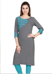 Gray And Blue Yellow Rayon Kurti