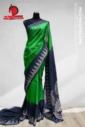 Green Color Block Printed Tussar Silk Saree