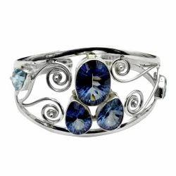 Mystic Amethyst Blue Topaz 925 Sterling Silver Bangle