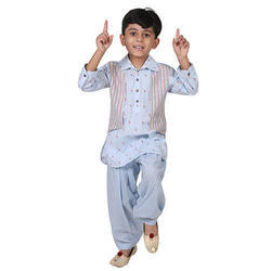 Powder Blue Boys Kids Designer Kurta Pajama