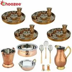 Choozee - Set of 4, Stainless Steel Copper Thali Set with Serveware, Salt Pepper Set & Copper Royal
