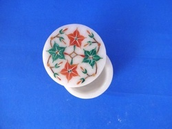 Floral Design White Marble Ring Box