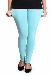 Cotton and Lycra Blended Plain Churidar Jumbo Size Sea Green Leggings, Size: L, XL