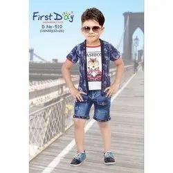 6-12 Years Printed Kids Boys Shrug Suit