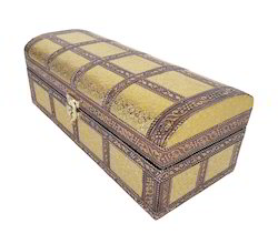 Artificial Leather Finish Wooden 1-Roll Bangle Box - Golden