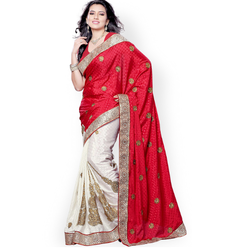 Cream & Red Embroidery Sarees