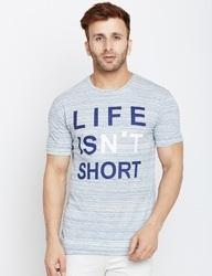 100% Cotton Men Short Sleeve Printed Round Neck T-Shirt