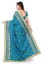 Paper Silk  Designer Pallu Embroidered Work Blue Color Saree