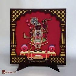 MDF Wooden Frame Style Shreenathji Wedding Card Cum Gift