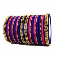 Round Party Trendy Silk Thread Bangle Set, Packaging Type: Box