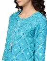 Yash Gallery Women's Cotton Cambric Bandhej Print Gotta Work Straight Kurta