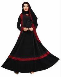 Women's Lycra Abaya Burqa With Jacket And Chiffon Dupatta