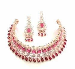 Golden Pajindia Signature American Diamond Ruby Chokar Necklace Set, Size: Free