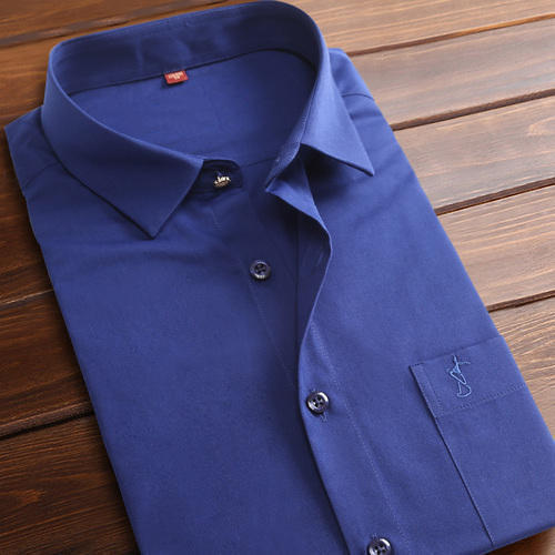 Blue Plain Mens Shirt