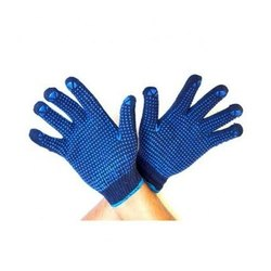 Knitted Dot Printed Atlas Blue Dotted Blue Gloves