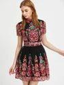 Shein  Embroidered Mesh Overlay Skater Dress