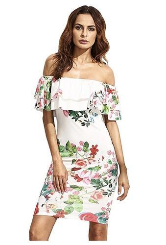 Women s Floral Ruffle Off Shoulder Party Sexy Bodycon Dress at Rs ... 74a5d1d5b8ce