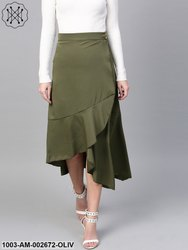 Solid Asymmetric Wrap Skirt
