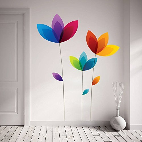 Multicolor 68 X 88 Cm Decor Kafe Home Decor Colorful Flowers Wall Sticker Wall Sticker For Bedroom Wall Art Wall Poster Rs 99 Piece Id 19169653873