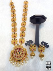 South Indian Matte Finish Long Jewellery Set