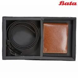 Brown Bata Combo Leather Belt and Wallet Gift Set, Packaging Type: Box