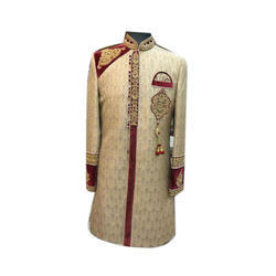 Raw Silk Men's Embroidered Sherwani