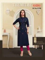 Plain Regular Designer Ladies Kurta, Dry clean