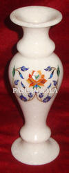 Marble Flower Vase With Inlay Work