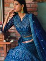 Women's Blue Heavy Net Embroidered Bridal Lehenga With Blouse By Parvati Fabric (76603)
