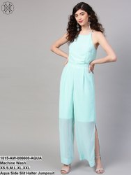 Aqua Side Slit Halter Jumpsuit