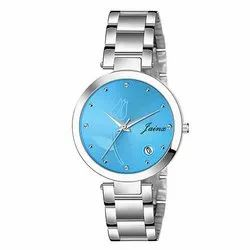 Jainx Blue Dial Date Functioning Analog Watch For Women JW648