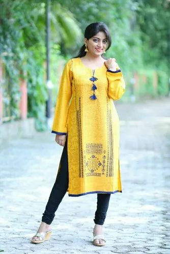 Knee Long Round Neck Casual Kurtis