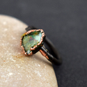 Natural Fire Opal Gemstone Rose Gold Oxidized Ring