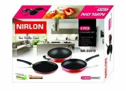 Nirlon Non Stick Cookware Gift Set for Home Kitchen Cooking Utensils Model Nr55410 2.8mm Thickness