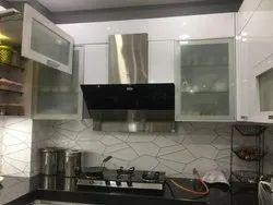 Wooden L Shape Plywood Modular Kitchen, Warranty: 5-10 Years