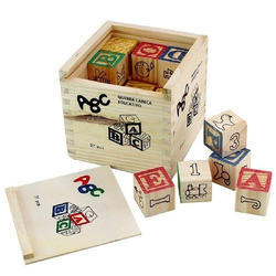 Wooden Blocks Letters Numbers with Box Storage Case