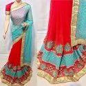 Designer Embroidery Work With  Fancy Pallu Georgette Patli Saree