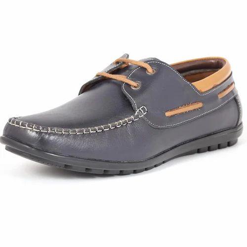 Chamois Blue Men Laces Loafers Shoes