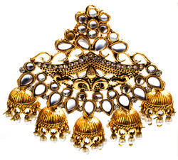 Golden Copper Fashion Empire Gold Plated Kundan And Pearl Fancy Party Wear Jhumka / Jhumki Earrings For Women, Shape: Curve